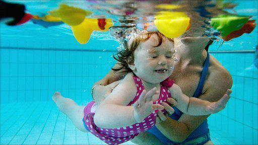 Ребёнок плавает